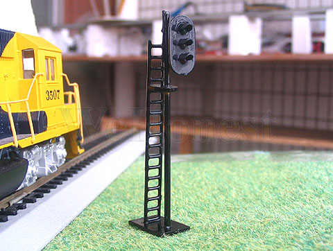 Details about 4 x HO Scale 3 aspects Railroad Signals 3 lights block signal  LEDs made G/Y/R